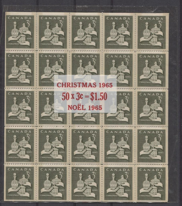 Canada #443 (SG#568pa) 3c Olive 1965 Christmas Issue Tagged Cello-Paq of 50 DF Paper VF-75 NH Brixton Chrome