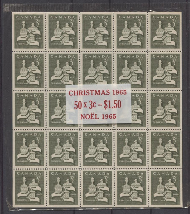 Canada #443a (SG#568a) 3c Olive 1965 Christmas Issue Cello-Paq of 50 DF Paper VF-75 NH Brixton Chrome