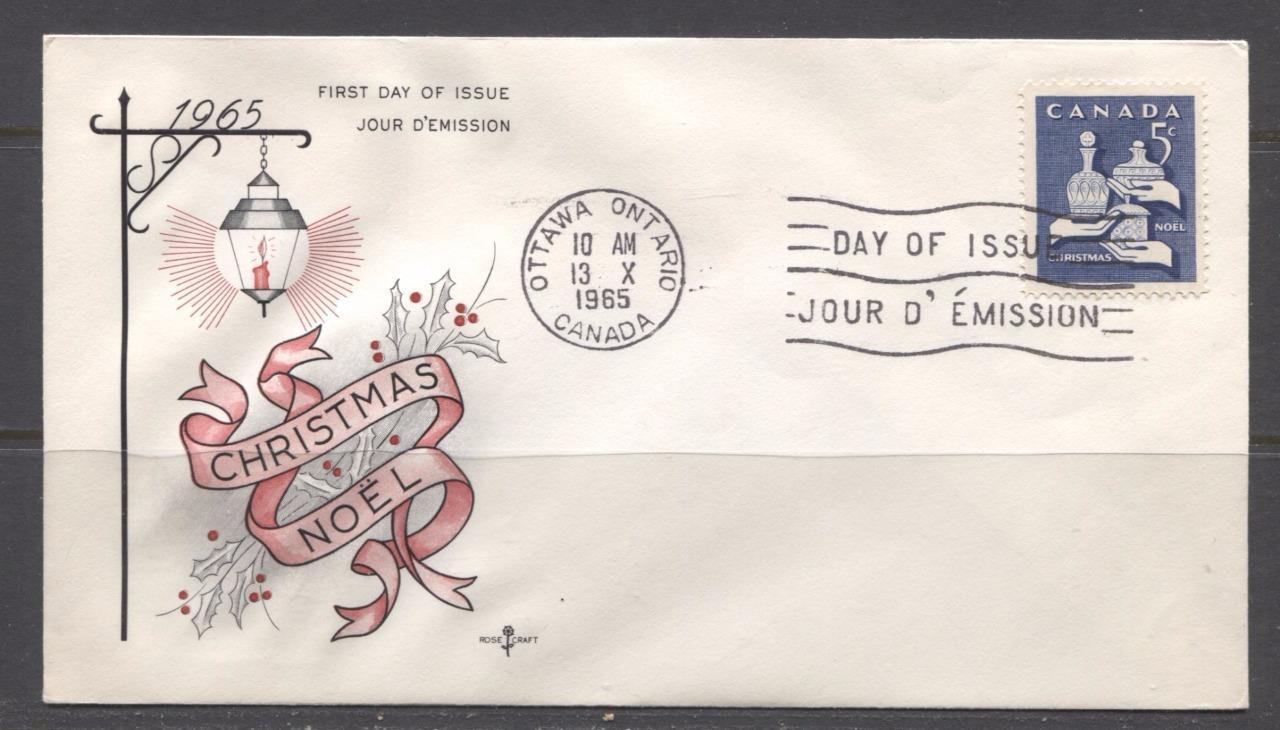 Canada #444 (SG#569) 5c Violet Blue 1965 Christmas Issue Rose Craft First Day Cover XF-86 Brixton Chrome