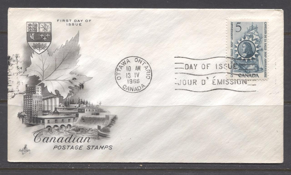 Canada #446 (SG#571) 1966 Cavalier De La Salle Issue Art Craft First Day Cover VF-79 Brixton Chrome