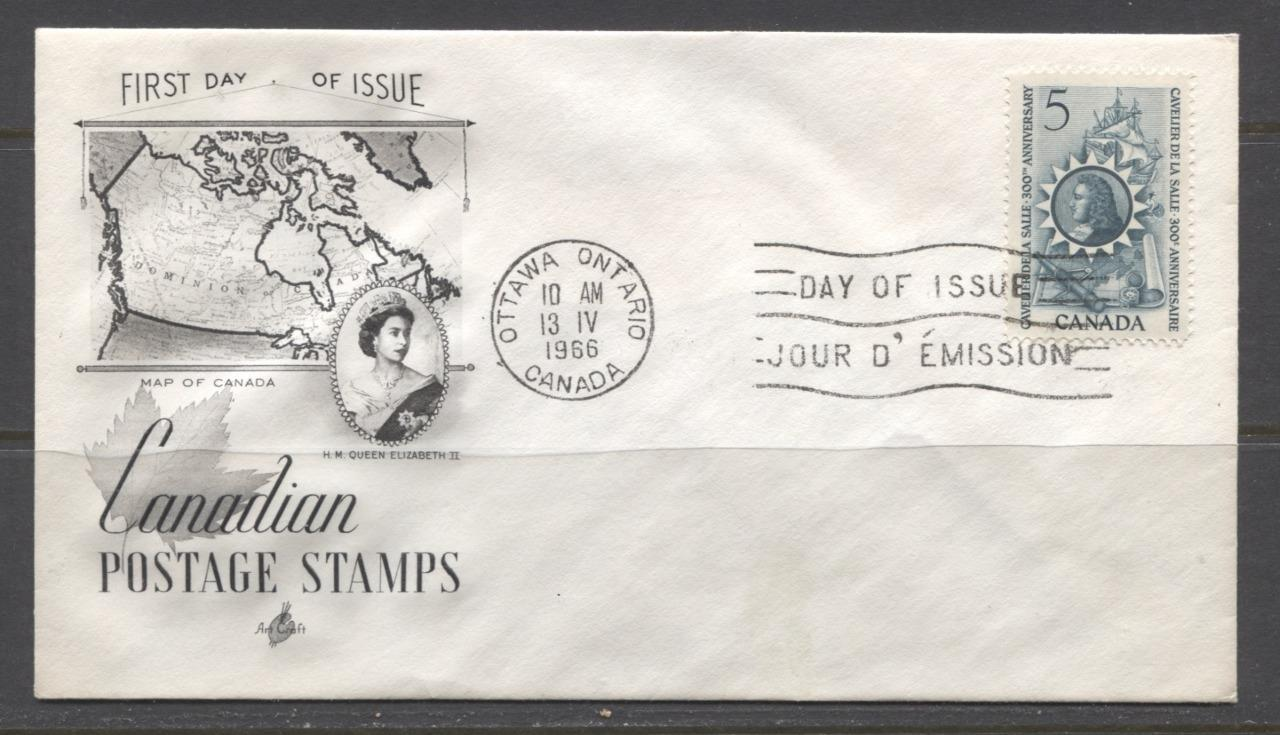 Canada #446 (SG#571) 1966 Cavalier De La Salle Issue Art Craft First Day Cover XF-85 Brixton Chrome