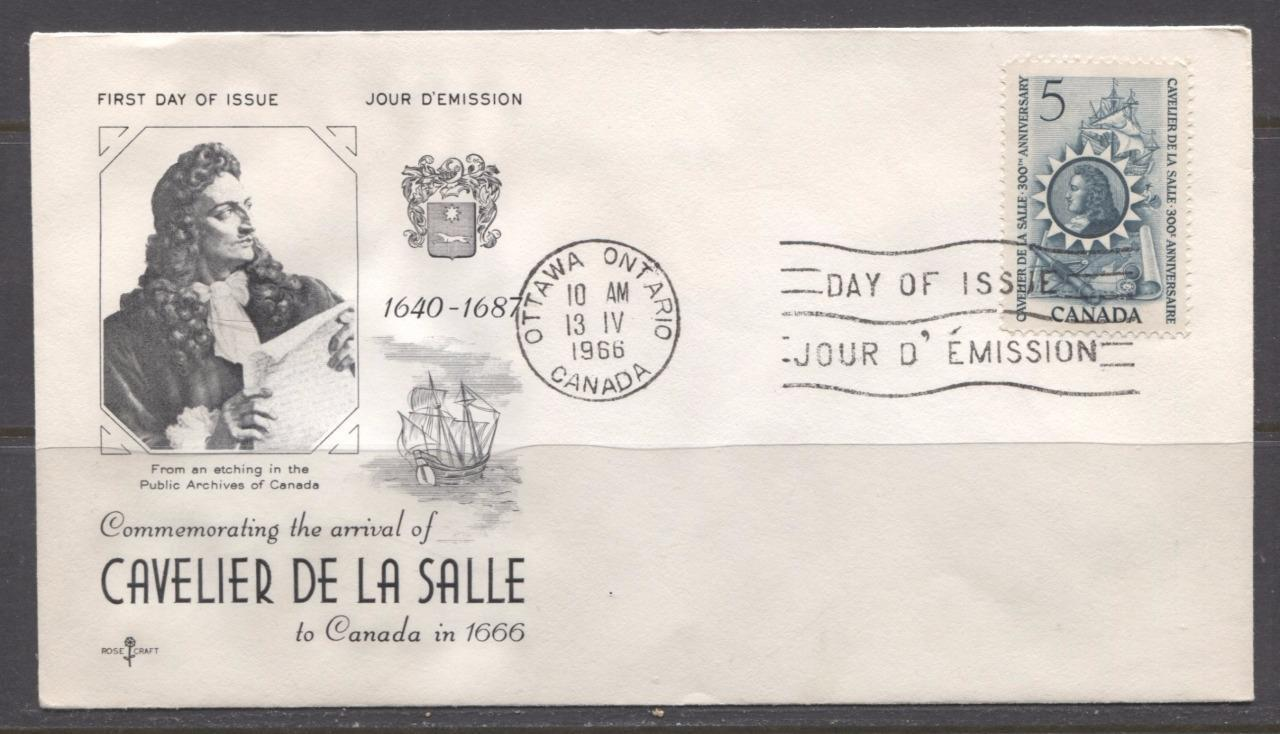 Canada #446 (SG#571) 1966 Cavalier De La Salle Issue Rose Craft First Day Cover XF-86 Brixton Chrome