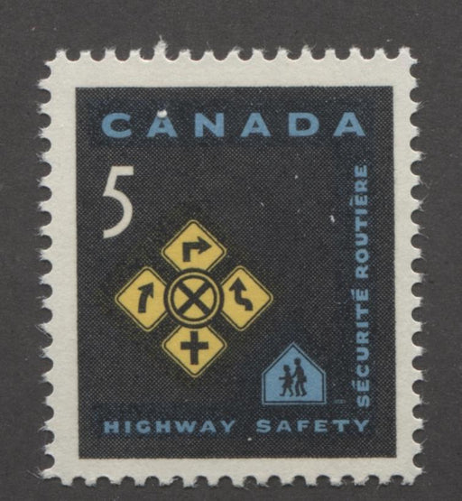Canada #447 (SG#572) 5c Black, Blue And Yellow Traffic Signs 1966 Highway Safety Issue NF/DF-fl, LF, S Paper VF 75/80 NH Brixton Chrome