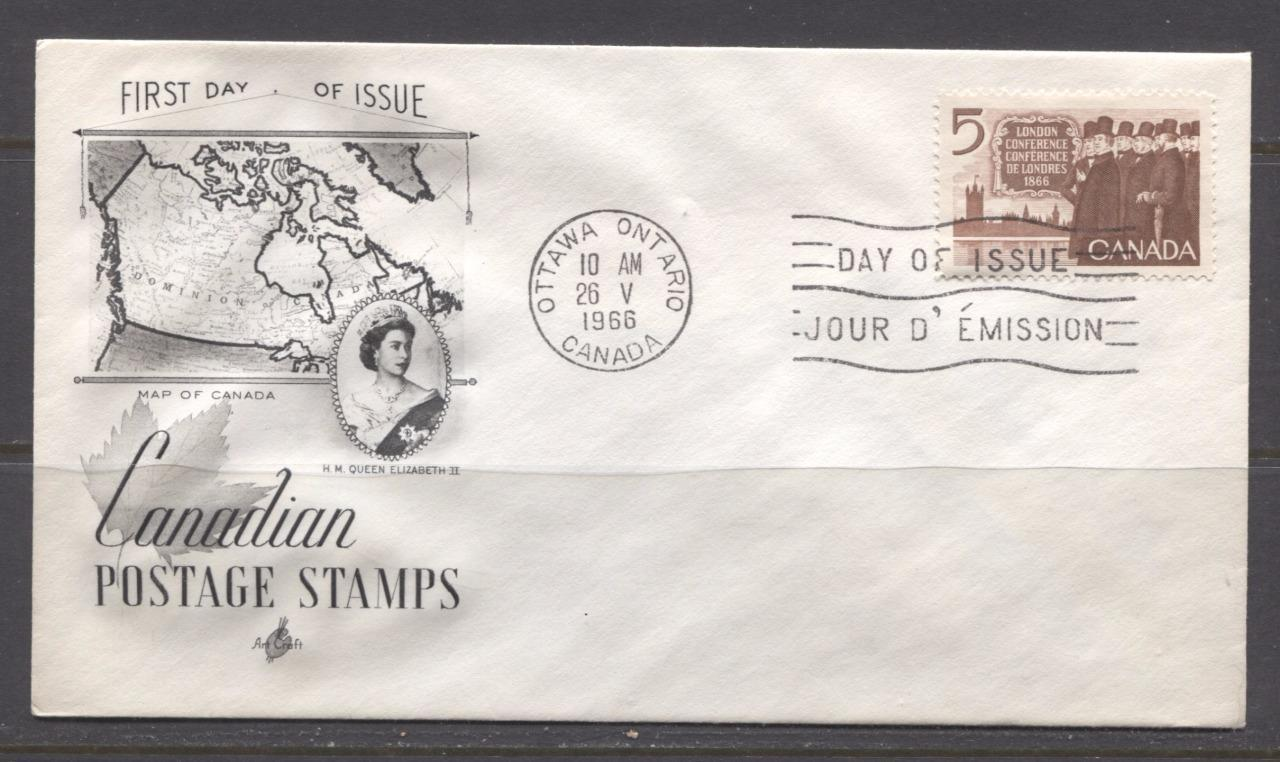 Canada #448 (SG#573) 1966 London Conference Art Craft First Day Cover XF-85 Brixton Chrome