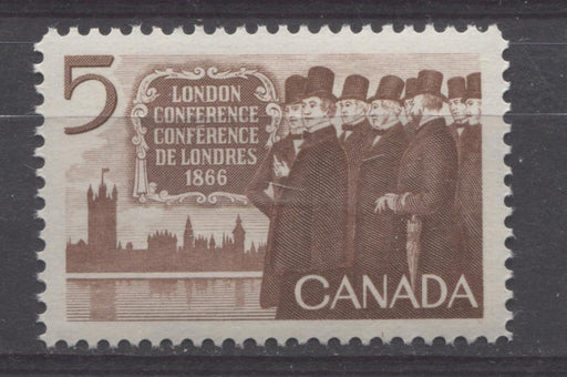 Canada #448 (SG#573) 5c Brown 1966 London Conference Issue NF/DF-fl, LF, S Paper VF 75/80 NH Brixton Chrome