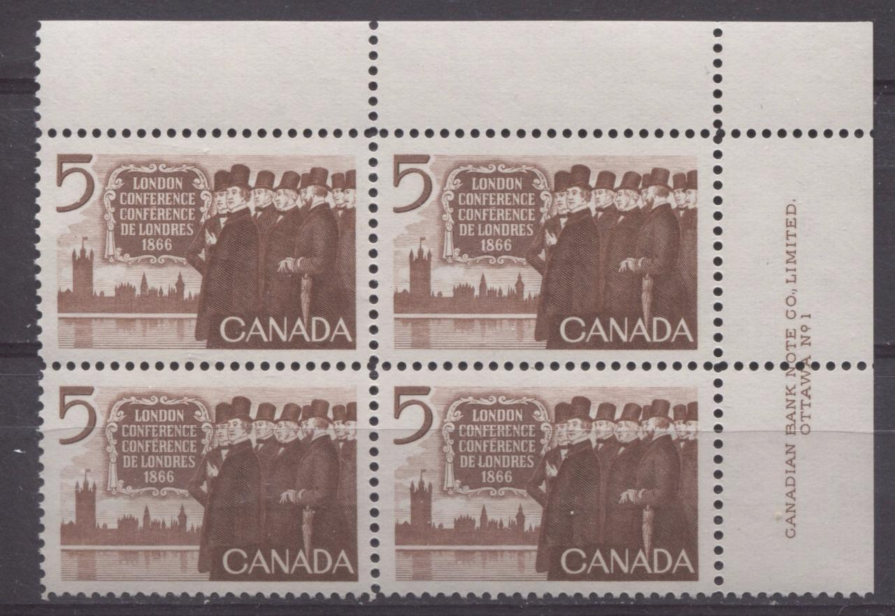 Canada #448 (SG#573) 5c Brown 1966 London Conference Issue Plate 1 UR DF/DF-fl, LF, S Paper VF 75/80 NH Brixton Chrome