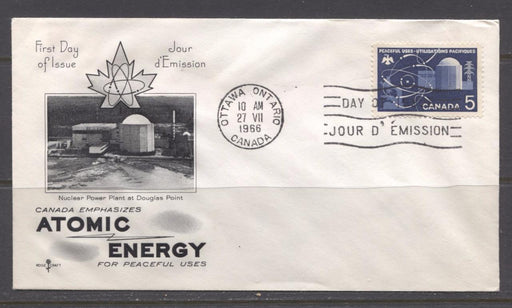 Canada #449 (SG#574) 1966 Atomic Research Issue Rose Craft First Day Cover XF-86 Brixton Chrome