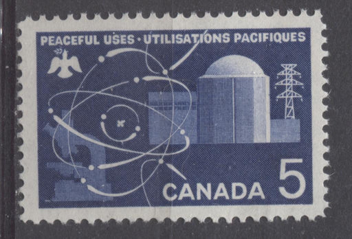 Canada #449 (SG#574) 5c Deep Ultramarine 1966 Atomic Research Issue DF/DF-fl, LF, S Paper VF 75/80 NH Brixton Chrome