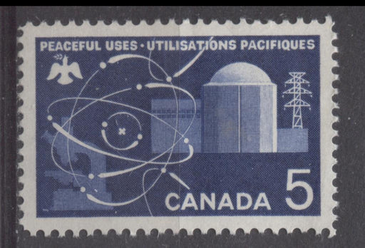 Canada #449 (SG#574) 5c Deep Ultramarine 1966 Atomic Research Issue DF/DF-fl, LF, S Paper VF 84 NH Brixton Chrome
