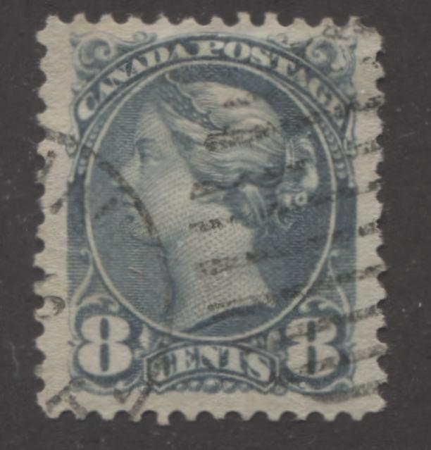 Canada #44a 8c Blue Grey Queen Victoria, 1870-1897 Small Queen Issue, Very Fine Used Example Brixton Chrome