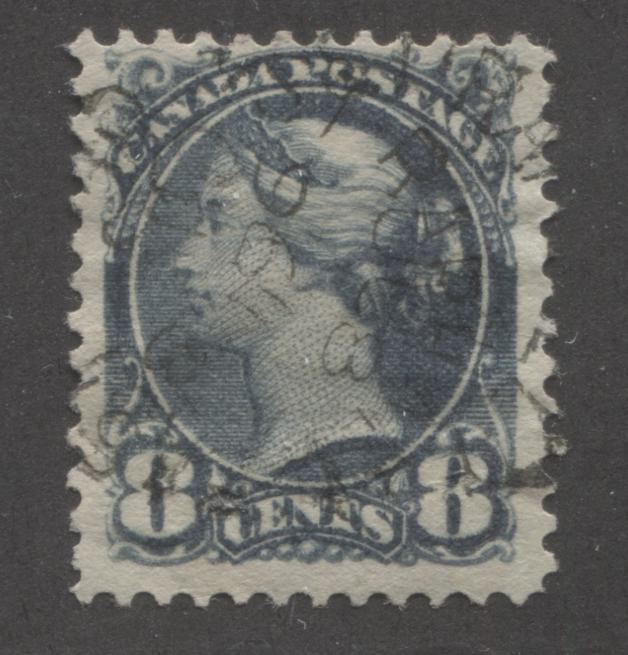 Canada #44b 8c Deep Slate Queen Victoria, 1870-1897 Small Queen Issue, Very Fine Used Example Brixton Chrome