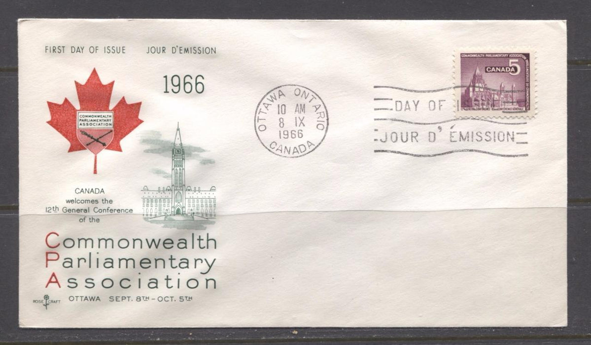 Canada #450 (SG#575) 1966 Commonwealth Parliamentary Association Conference Issue Rose Craft First Day Cover XF-86 Brixton Chrome