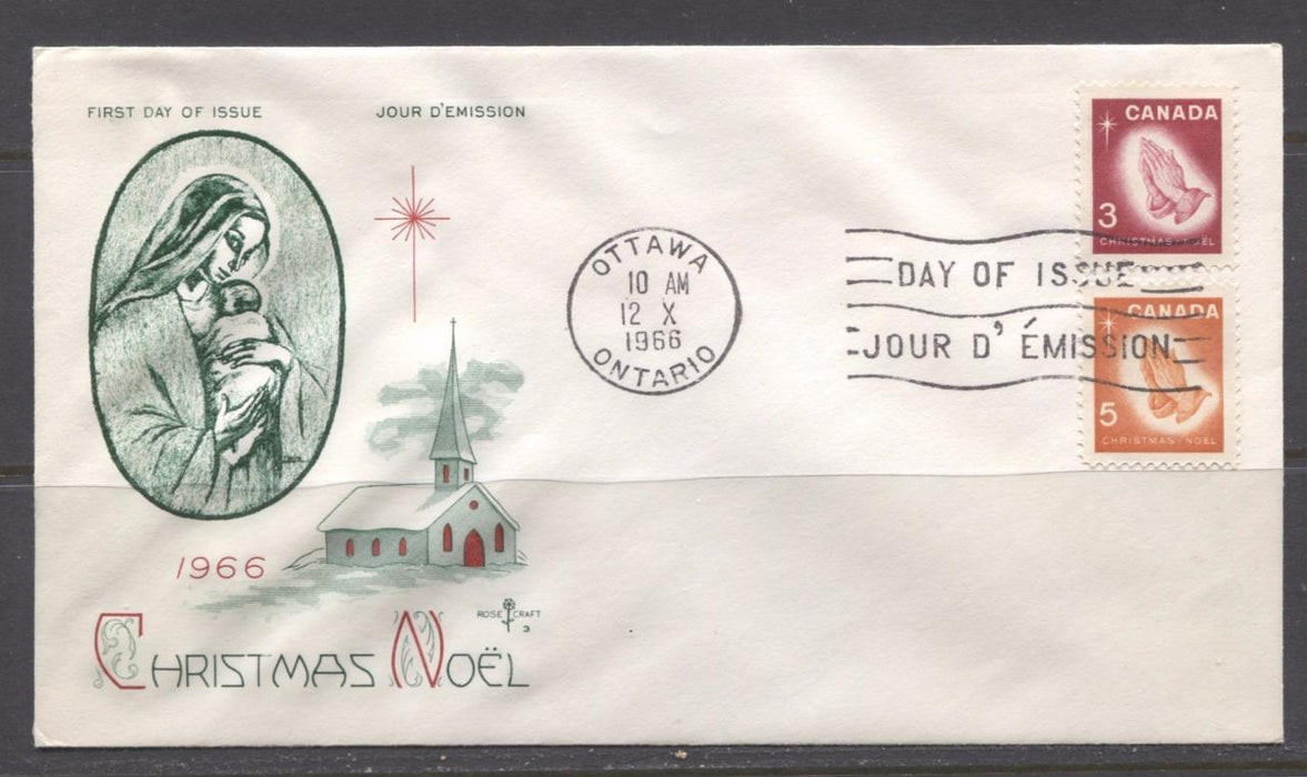 Canada #451-452 (SG#576-577) 3c-5c 1966 Christmas Issue Rose Craft First Day Cover XF-91 Brixton Chrome
