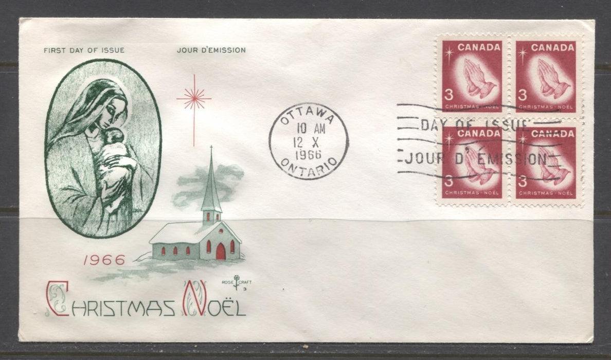 Canada #451 (SG#576) 3c Carmine 1966 Christmas Issue Rose Craft First Day Cover XF-86 Brixton Chrome