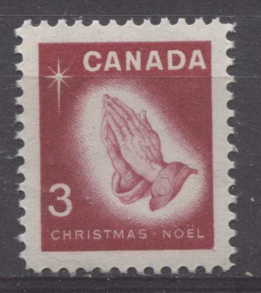 Canada #451 (SG#576) 3c Carmine Rose Praying Hands 1966 Chrstmas Issue DF Paper VF 75/80 NH Brixton Chrome