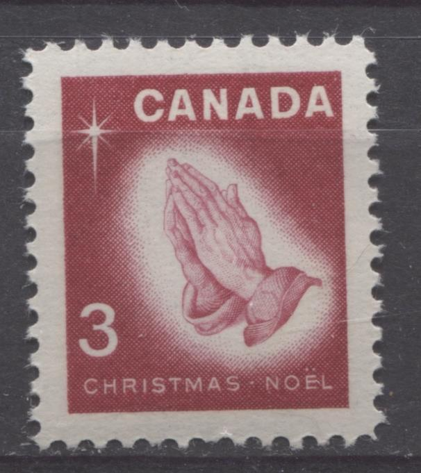 Canada #451 (SG#576) 3c Carmine Rose Praying Hands 1966 Chrstmas Issue DF/DF-fl, LF, S Paper VF 75/80 NH Brixton Chrome