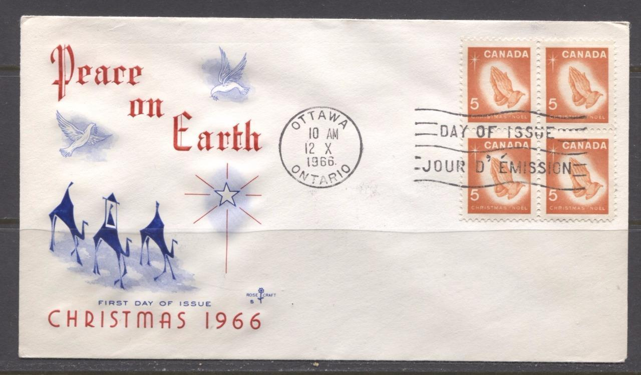Canada #452 (SG#577) 5c Christmas 1966 Rose Craft First Day Cover XF-86 Brixton Chrome