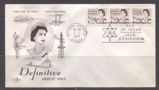 Canada #454 (SG#579) 1967 1c Brown Centennial Issue Rose Craft First Day Cover XF-86 Brixton Chrome