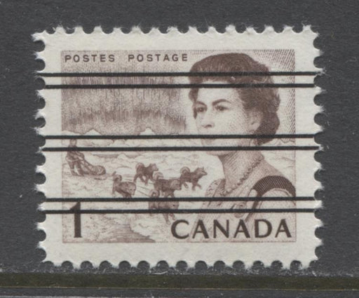 Canada #454xx (SG#579) 1c Deep Brown Centennial DFGW Paper Smooth Dextrine Gum Precancel VF-84 NH Brixton Chrome