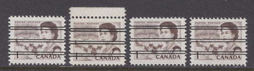 Canada #454xx (SG#579) 1c Deep Brown Centennial Precancel Four Different Varieties Dextrine Gum VF-75 NH Brixton Chrome