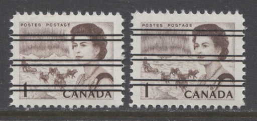 Canada #454xx (SG#579) 1c Deep Brown Centennial Precancel Two Different Shades DF Paper Dextrine Gum VF-80 NH Brixton Chrome
