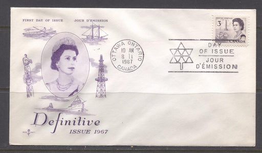 Canada #456 (SG#581) 1967 3c Purple Centennial Issue Rose Craft First Day Cover XF-86 Brixton Chrome