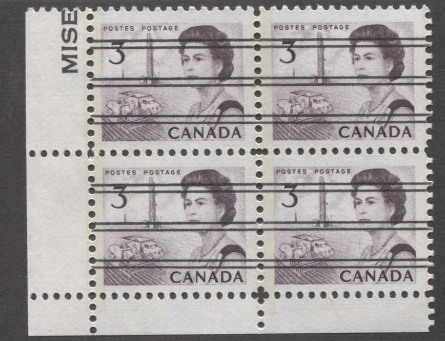 Canada #456pxx (SG#581q) 3c Deep Red Purple Centennial GT-2 Precancel LL Corner Block VF-75 NH Brixton Chrome