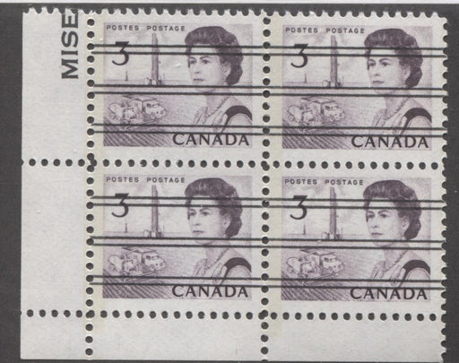 Canada #456pxx (SG#581q) 3c Deep Red Purple Centennial GT-2 Precancel LL Corner Block VF-80 NH Brixton Chrome