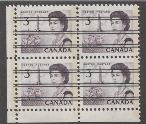 Canada #456pxx (SG#581q) 3c Deep Red Purple Centennial GT-2 Precancel LL Field Stock Block VF-80 NH Brixton Chrome
