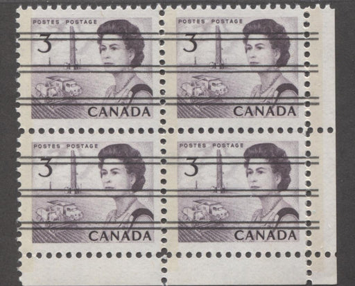 Canada #456pxx (SG#581q) 3c Deep Red Purple Centennial GT-2 Precancel LR Field Stock Block VF-75 NH Brixton Chrome