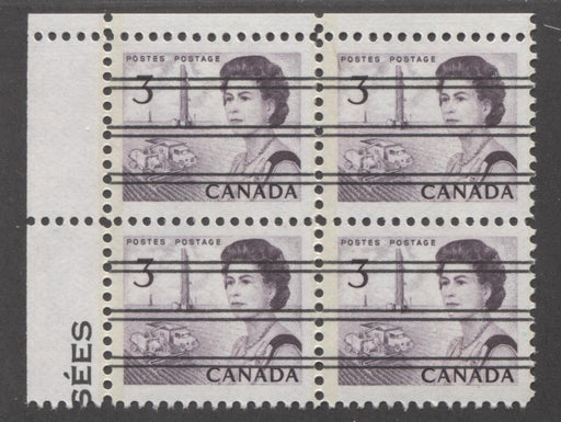 Canada #456pxx (SG#581q) 3c Deep Red Purple Centennial GT-2 Precancel UL Corner Block VF-80 NH Brixton Chrome