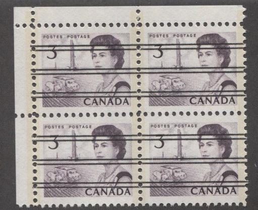 Canada #456pxx (SG#581q) 3c Deep Red Purple Centennial GT-2 Precancel UL Field Stock Block VF-84 NH Brixton Chrome