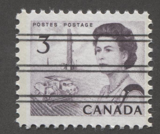 Canada #456pxx (SG#581q) 3c Deep Reddish Purple Centennial Light GT-2 Precancel PVA Gum F-65 NH Brixton Chrome