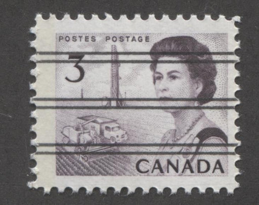 Canada #456pxx (SG#581q) 3c Deep Reddish Purple Centennial Light GT-2 Precancel PVA Gum F-70 NH Brixton Chrome