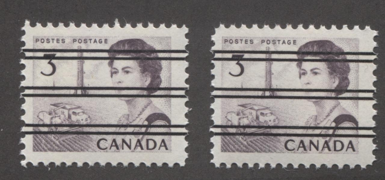 Canada #456xx (SG#581) 3c Dull Reddish Purple Centennial Precancel 2 Different Papers F-70 NH Brixton Chrome