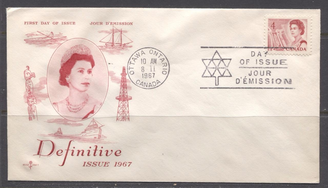 Canada #457 (SG#582) 1967 4c Carmine Centennial Issue Rose Craft First Day Cover XF-86 Brixton Chrome