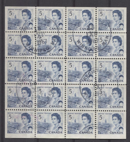 Canada #458bp (SG#583pa) 1967 5c Blue Centennial Issue Tagged Pane of 20 NF Paper VF-80 Used Brixton Chrome