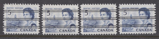 Canada #458xxi, xxii (SG#583) 5c Deep Blue Centennial Precancel 4 Different Papers VF-75 NH Brixton Chrome
