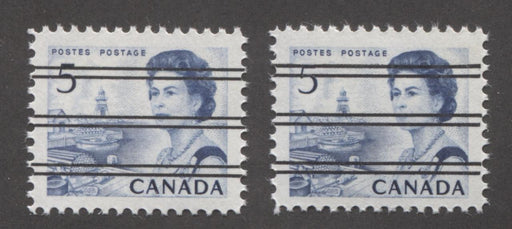 Canada #458xxi, xxii (SG#583) 5c Deep Blue Centennial Precancel Dextrine Gum and PVA Gums VF-80 NH Brixton Chrome