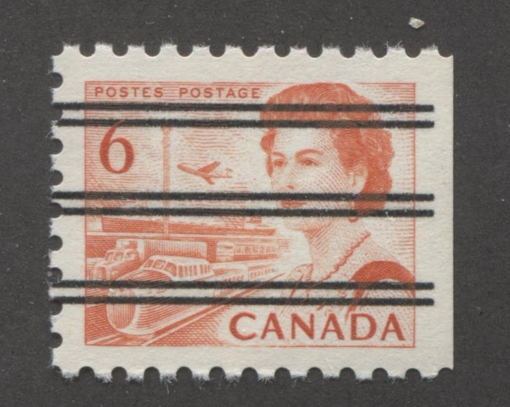 Canada #459xx (SG#601) 6c Deep Red Orange Centennial Precancel DF Gr. Paper Straight Edge At Right VF-80 NH Brixton Chrome