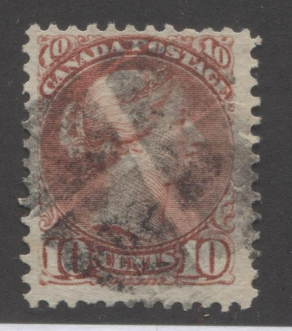 Canada #45a 10c Deep Rose Queen Victoria, 1870-1897 Small Queen Issue, Fine Used Example of the Second Ottawa Printing on Horizontal Wove Paper, Perf. 12 x 12.1 Brixton Chrome