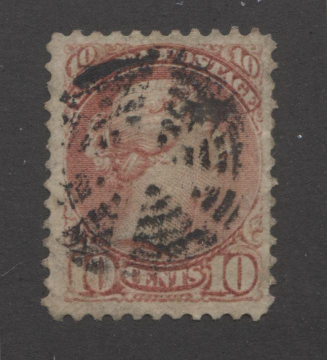 Canada #45a 10c Deep Rose Queen Victoria, 1870-1897 Small Queen Issue, Fine Used Single of the Second Ottawa Printing With A Starburst Target Cancel Brixton Chrome