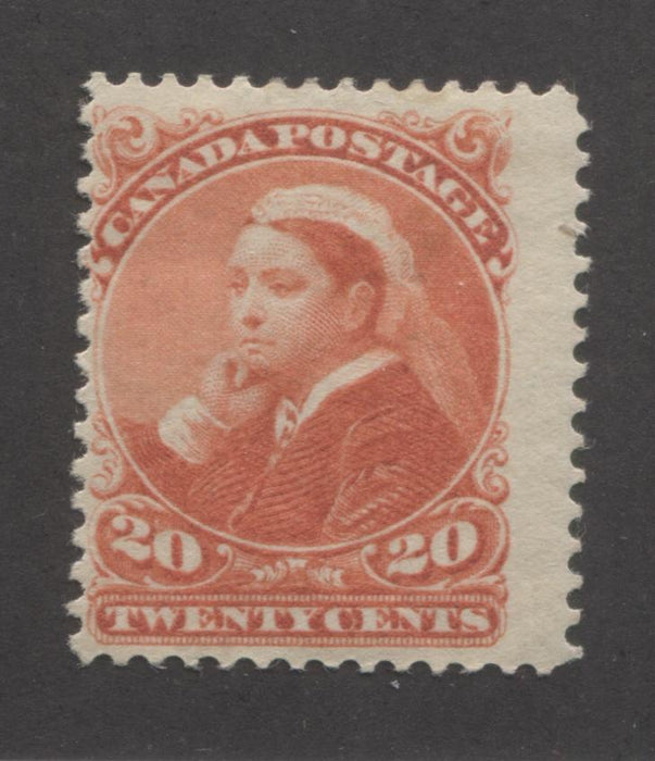 Canada #46 20c Vermilion Queen Victoria, 1870-1897 Small Queen Issue A Very Good Mint OG Example on Soft Horizontal Wove Paper Brixton Chrome