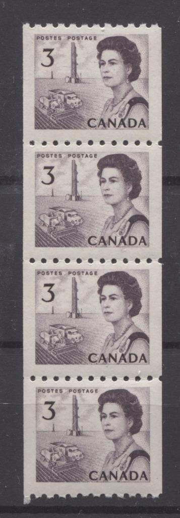 Canada #466 (SG#591) 3c Purple Centennial Coil Strip of 4 - Paper and Gum Type 2 VF-80 NH Brixton Chrome