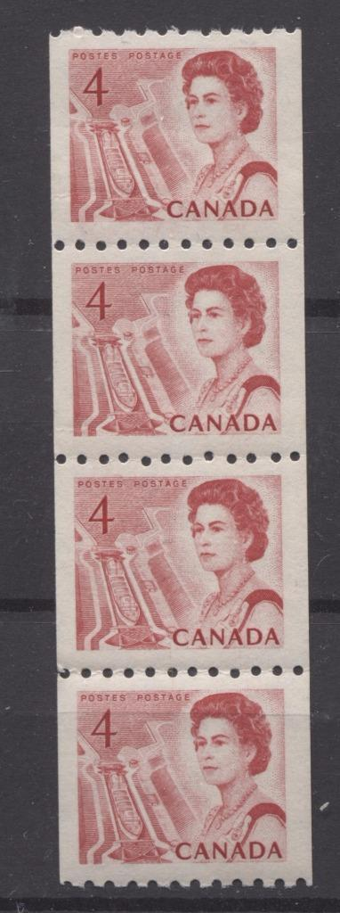 Canada #467i (SG#592) 4c Centennial Coil Strip of 4 - LF Paper and Gum Type 2 VF-80 NH Brixton Chrome