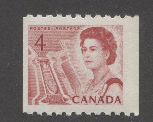 Canada #467i (SG#592) 4c Scarlet Centennial Coil - LF Paper and Gum Type 3 F-70 NH Brixton Chrome