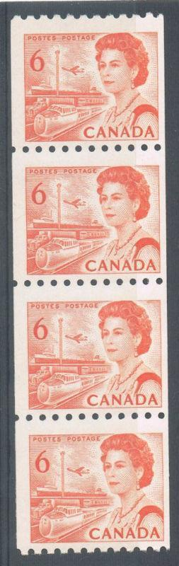 Canada #468 (SG#593)A (SG#594) 6c Orange 1967-73 Centennial Issue Coil Strip of 4 DF Paper F-70 NH Brixton Chrome