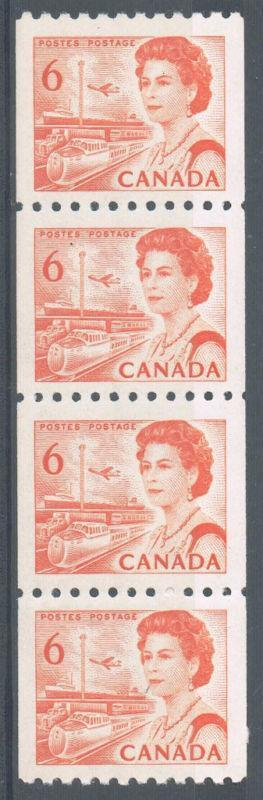 Canada #468A (SG#594) 6c Orange 1967-1973 Centennial Issue Coil Strip of 4 DF Paper VF-84 NH Brixton Chrome