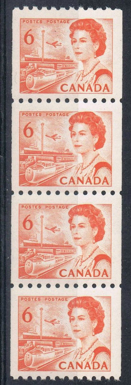 Canada #468A (SG#594) 6c Orange 1967-73 Centennial Issue Coil Strip of 4 DF Paper VF-75 NH Brixton Chrome