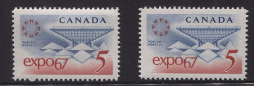 Canada #469 (SG#611) 5c Blue and Red Expo 67 2 Different Papers - Group 2 VF-80 NH Brixton Chrome